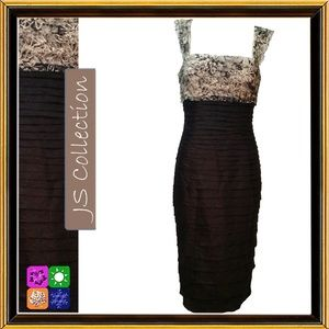 Black & Beige Lace and Tiers Cocktail Dress